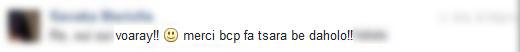 voaray merci beaucoup Tianaina fa tsara be daholo