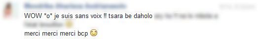 wow je suis sans voix tsara be daholo merci beaucoup
