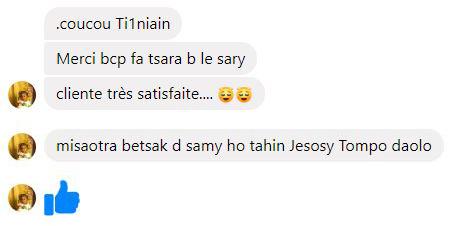 merci beaucoup fa tsara be ilay sary Tianaina, cliente très satisfaite